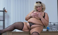 Euro BBW gilf Dita gets turned on in kitchen