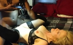Latina MILF in sexy white lingerie and stockings