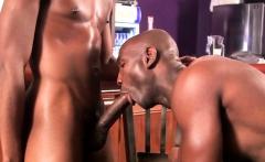 Buff interracial threesome ass fucking in bar