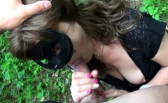 german mature with mask fucked outdoor in the forest POV