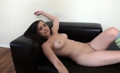 Awesome big cock handjob from hot brunette