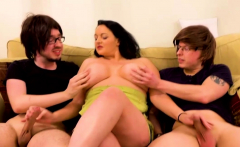 Curvy MILF enjoys fucking with two nerds