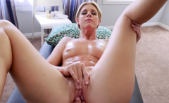 Blonde milf getting a hot massage from her stepson