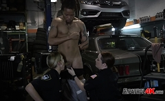 Amateur interracial threesome with cops