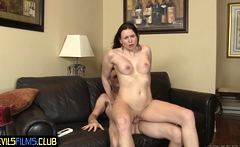 Bigtits beauty seduces younger guy