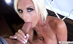 Hot stepmom just got down on her knees and started to suck