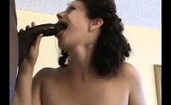 Interracial gloryhole blowjob from a brunette