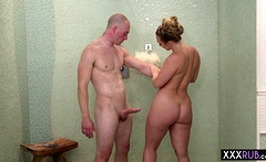 Hot MILF with big ass massage a friend with big cock