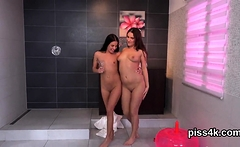Fervent lezzie chicks get splashed with piss and burst wet s
