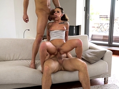 Hot Threesome Rimming And Anal With Petite Brunette