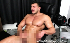 Oiled up hunk cums