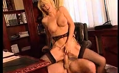Two blonde pornstars in heels and stockings fingering vags
