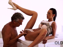 Old4k. Slender Girl Enjoys Sex With Old Gentleman Who