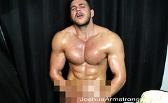 Oiled hunk wank and cum