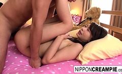 Cute Asian is fucked until he cums in her pussy