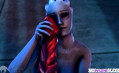 Blue Mass Effect babe fucked by alien dick