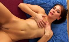 Incredible busty slut fingers her wet snatch