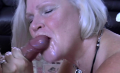 Busty granny sucks group cocks