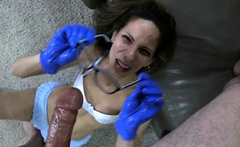 Old guy younger fuck handjob and cumshot