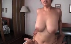 Big tit asian girlfriend screwing sex toy with erect nipples