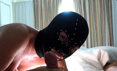 Young stepmom sucking an old man in a hotel room.