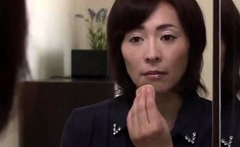 Japanese milf dildoing in her black lingerie