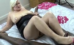 Footjob giving brit gran sucks black cock