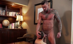 Older daddy fucks Austin Young in front of his friend