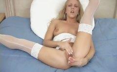 Teen Blonde Lingerie Dildo Solo