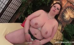 BBW mature in huge boobs dildo fucking her large cunt