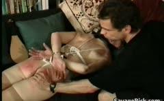 Kinky MILF is sex slave in weird bondage